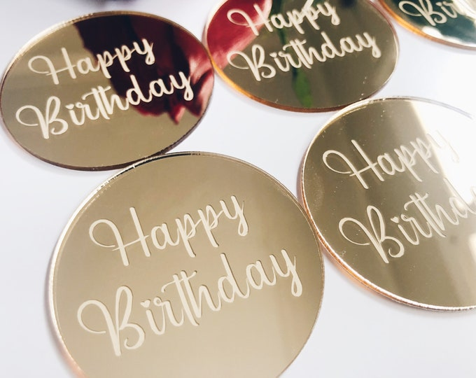 Featured listing image: SET OF 6 Perspex Acrylic Gold Happy Birthday Cupcake Toppers / Mini Cake Topper / Calligraphy
