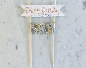 Cake Topper / Marble Print Paper / Rose Gold Modern Calligraphy / Custom Hand Lettered/ Silver Gold / Hand Made Mini Tassels / Birthday /