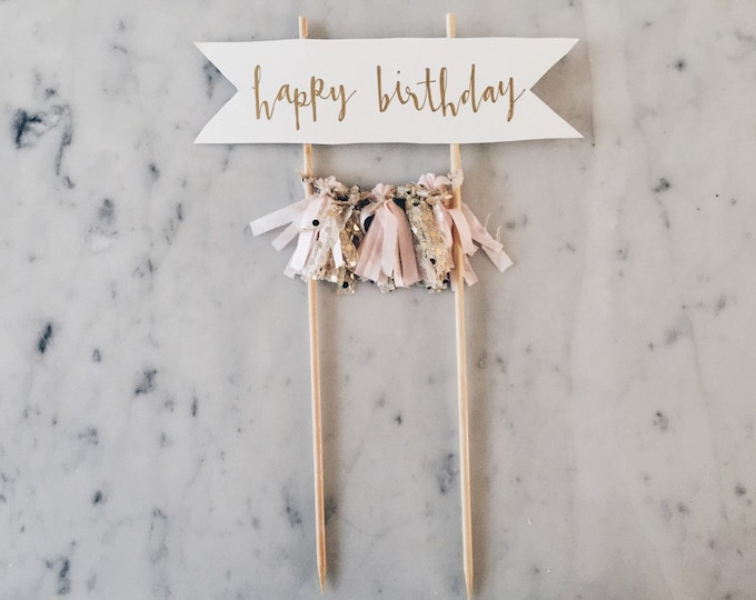 Featured listing image: Cake Topper / Gold Calligraphy / Custom Hand Lettered/ Blush Pink Gold/ Made-To-Order/ Hand Made Mini Tassels / Happy Birthday / Birthdays /