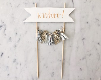 Cake Topper / Rose Gold Modern Calligraphy / Custom Hand Lettered/ Gold Silver / Made-To-Order/ Hand Made Mini Tassels /