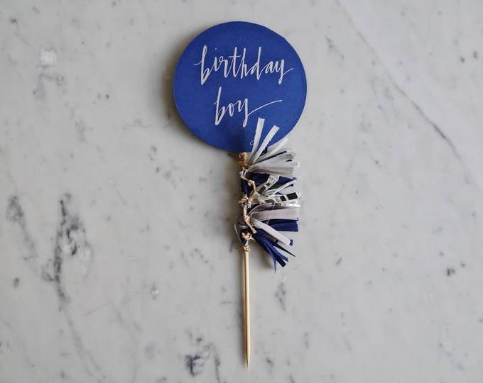 Featured listing image: Cake Topper / Silver Modern Calligraphy / Custom Hand Lettered / Navy Grey Silver Blue Boy / Mini Tassels Balloon / Birthday Wedding/