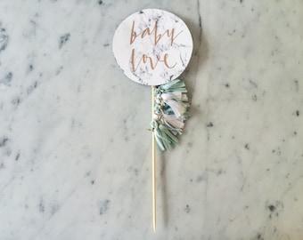 Cake Topper / Marble Print / Modern Calligraphy / Custom Hand Lettered / Mint White / Mini Tassels Balloon / Birthday / Love Baby