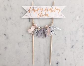 Cake Topper / Marble Print Paper / Rose Gold Modern Calligraphy / Custom Hand Lettered/ Silver Blush Grey / Hand Made Mini Tassels /