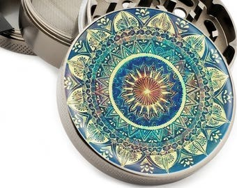 "Blue Mandala Large Herb Grinder - 2.5"" Wide 4 Part Grinder with Pollen Catcher Premium Quality Titanium Grinders - Gift Box"