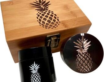 Pineapple Engraved Grinder Stash Box Combo - Large 4 Part Grinder - UV Glass jar - Engraved Wood Stash Box