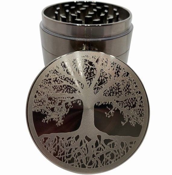 Tree Of Life Large 4 Part Herb Grinder with pollen catcher and Stash Jar and Rolling Tray Wood Stash Boxes Tree of Life Stash Box Combo