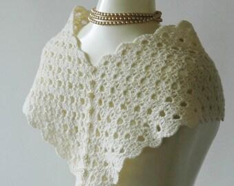 Cream bridal shawl / bridal capelet / button back / lightweight cream wool