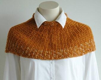 Handspun wool short poncho / cropped cape / snug fit poncho / burnt orange