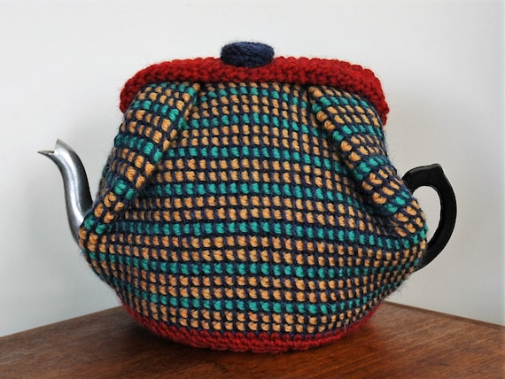 Wool Tea Cosy Medium Size Striped Teapot Cosy 6 Cup Red Blue Etsy