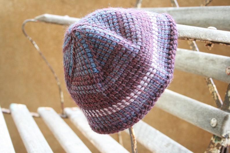 Men/'s skull cap beanie in maroon and multi coloured tunisian crochet