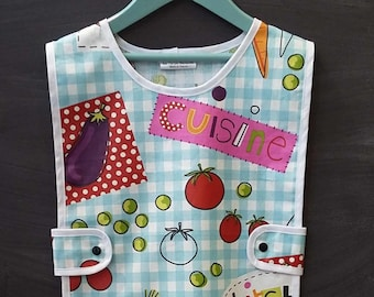 child apron - cotton coating - checked blue - apron - painting apron - gardening apron