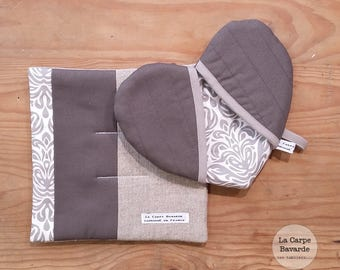 Potholders - grey - heart - trivet pot holder set