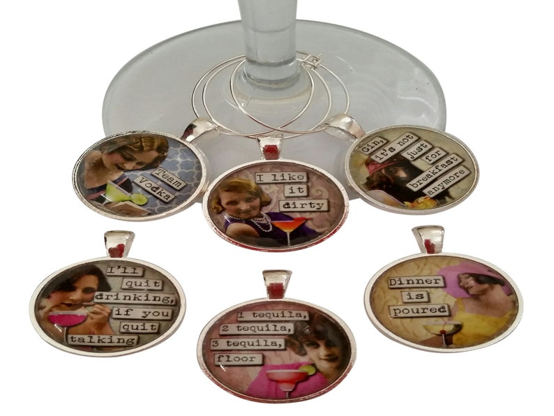 Vintage Women Funny Wine Glass Charms Silver Case Wine Tags Set of 6 Wine Charms