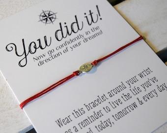 You Did It! - Congratulations Card - Graduation gift - College Graduation - High school - New Job - Congrats - You Did It - Wish Bracelets