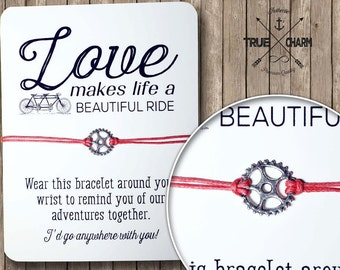 Bicycle gear bracelet - gift for her - gift for girlfriend - love bracelet on inspirational quote card - charm bracelet -friendship
