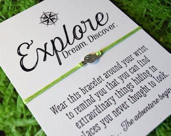 Explore bracelet - Graduation Gift - New Adventure Charm - wish bracelet wanderlust - Adventure awaits - Compass bracelet - Silver charm