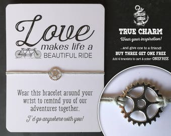 Valentine Gift - Gift for Cyclist - Gift for Him - gift for her - bicycle gear bracelet - love quote  - gift for partner - Wish bracelet -