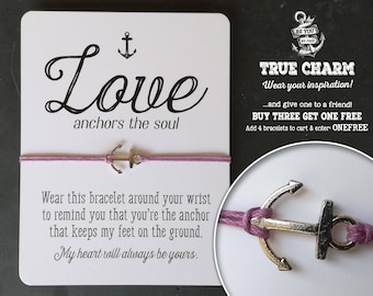 Wish bracelet - love bracelet - gift for girlfriend - Love anchors the soul - Gift for her - Inspirational quote card with silver charm