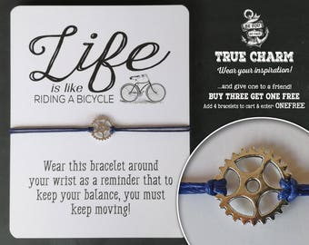Gift for Cyclist - Bicycle Quote - Friendship Bracelet - Gift for Him - Gift for Her - Bicyle Gift - Bike Riding quote - Valentine Gift