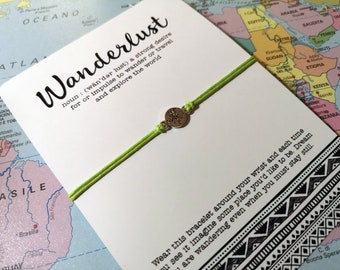 Wanderlust Wish Bracelet, Wanderlust Gift, Wanderlust Friendship Bracelet, Graduation Wish Bracelet, Travel Friendship Bracelet, Travel Wish