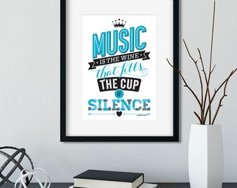 Music Is The Wine Quote A4 Unframed Poster (Ships from Australia)