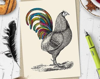 Rainbow Rooster Greetings Card (Ships from Australia)