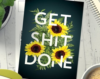 5 pack of 'Get Shit Done' Postcards (Ships from Australia)