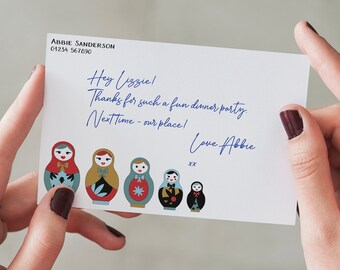 Russian Dolls Personalised Note Cards and Envelopes • Custom Stationery • Personalised Writing Set •  Customized Writing Set