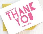 Writing Set: Girl's Thank You Cards, Thank You, Personalised, Thank You Note Cards, Thank You Notes, Writing Set, Big Thank you.