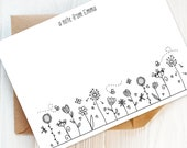 Writing Set: Pack of Cute Floral Personalised Note Cards and Envelopes | Personalised Stationery, Personalised Gift, Gift for Her