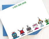 Writing Set: Pack of Children's Personalised Note Cards with Robots | Children's Stationery, Boy's Writing Set, Girl's Stationery.