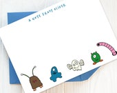 Writing Set: Pack of Children's Personalised Note Cards with Monsters | Children's Stationery, Boy's Writing Set, Girl's Stationery.