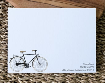 Vintage Bicycle Note Cards choose colour • Men's Writing Set • Quality Personalised Note Cards with Envelopes • Gift For Cyclist