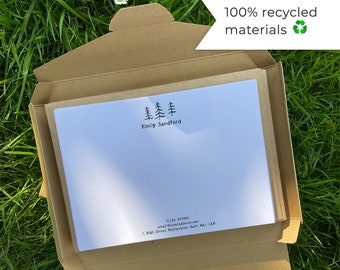 Eco Friendly Stationery Writing Set | Recycled Personalised Note Cards | Choice of Illustration | 100% Recycled Materials | Eco Friendly Pen