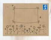 "12 Decorated Envelopes | White or Kraft C6  Envelopes ""Doodled Flowers"" | Pack of C6 Envelopes | Pen Pal Envelopes | Note Cards Envelopes"