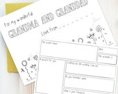 Writing Set: Pack of Note Cards for Grandparents | Young Children's Stationery Set, Colour In Keep Sake Notes, Writing Practice