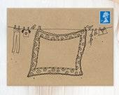 "12 Decorated Envelopes | White or Kraft C6 Envelopes ""Washing Line"" | Pack of C6 Envelopes | Pen Pal Envelopes | Note Cards Envelopes"