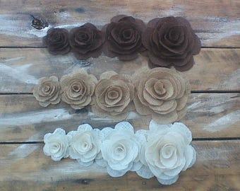 Burlap Flower, Burlap Roses, Country Wedding, Rustic Flower, Wedding Decoration, Wedding Cake Decoration