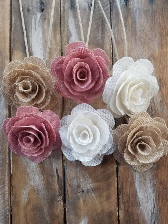 Diy Bridal Bouquet Burlap Flowers On A Stem Blush Pink Flower Burlap Flowers Rustic Flower Light Mauve Flower