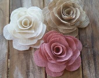 Burlap Flower, Burlap Rose, Country Wedding, Cake Decoration, Rustic Flower