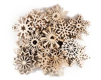 Set of 27 Wooden Snowflakes, Wood Christmas Ornaments, Wood snowflake, Laser cut snowflake, Christmas ornaments, Christmas decors handmade