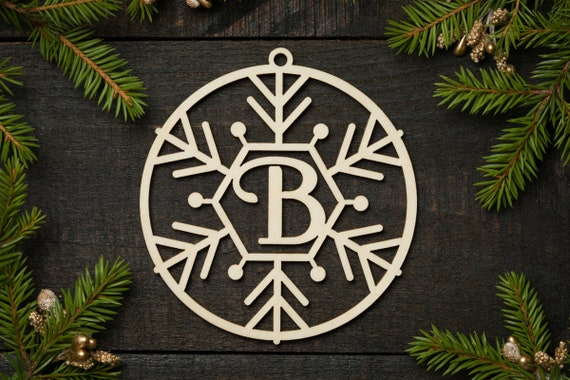 monogrammed gift Christmas ornament Snowflake initial ornament monogram ornament