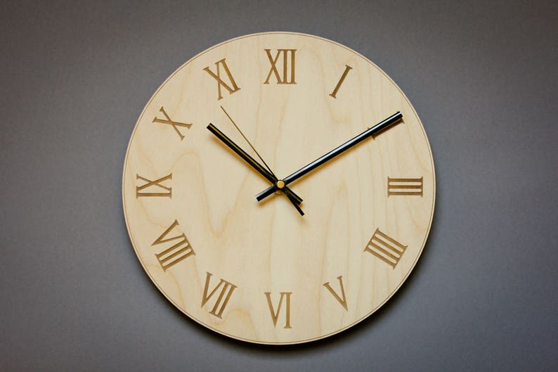 Roman Numeral Clock   Modern Wall Clock, Office Wall Clocks, Wooden Wall  Clock, Living Room Clock, Large Numbers Clock, Unique Wood Clock