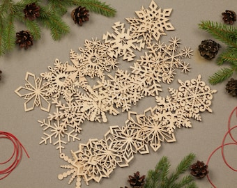 Christmas ornaments, Set of 27 Wooden Snowflakes, Wooden ornaments, Wood snowflake, Laser cut snowflake, Christmas decorations handmade