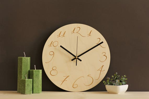 horloge murale en bois scandinave design horloge murale etsy. Black Bedroom Furniture Sets. Home Design Ideas