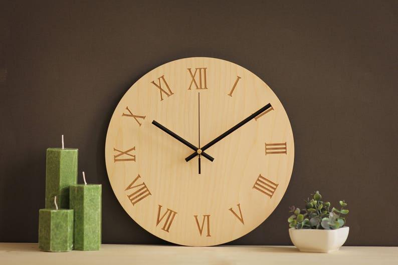 Römischen Wanduhr Wanduhr Holz Uhren Römische Ziffer Große Etsy
