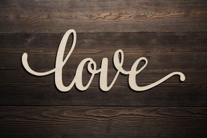 Love Script Word Love Wood Sign Wooden Words Sign Art Rustic Cursive Word Room Decoration Wall Hanging Laser Cut Unfinished Wood