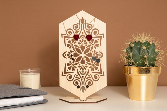 Jewellery Stand Wood Earring Holder Laser Cut Mandala Decor Etsy