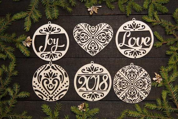 Etsy Christmas Ornaments.Christmas Ornaments Wood Christmas Ornament Set Laser Cut Ornaments Woodcut Ornaments Laser Cut Decors Modern Ornaments 2018 Ornaments