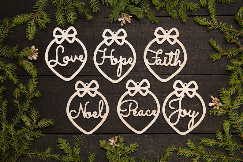 Christmas Ornaments Wood Christmas Ornament Set Laser Cut Ornaments Christmas Gift Mom Sister Baby Sitter Grandma Teacher Cute Decor